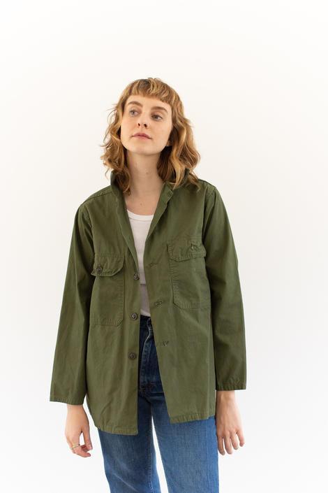 Vintage Olive Green Trooper Shirt   Cotton Poplin Summer Button Up OverShirt   S M by RAWSONSTUDIO
