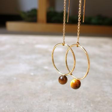 Tiger's Eye Gold Orb Ear Threads Geometric Circle Ear threads by RachelPfefferDesigns