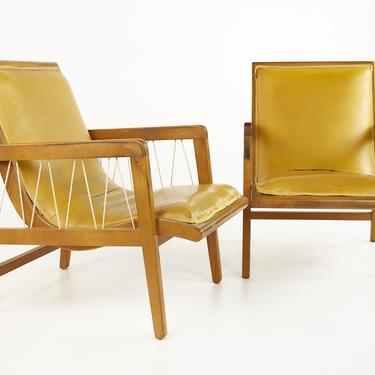 Russel Wright for Conant Ball Style Mid Century Maple and Rope Lounge Chairs - Pair - mcm by ModernHill