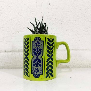 True Vintage Green Mug England Floral Blue Flower Power Coffee Tea Cup Mid Century Modern Boho Flowers Dainty Cute Kawaii by CheckEngineVintage