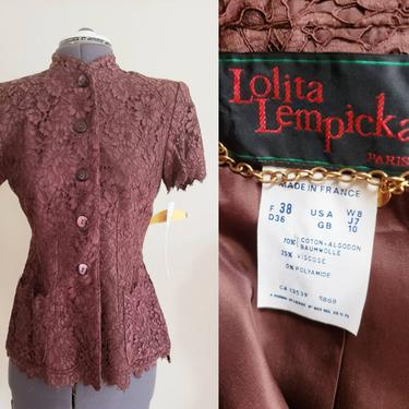 1990s Lolita Lempicka Lace Jacket Brown Mocha Coffee Deadstock New Old Stock / 90s Short Sleeved Button Down Romantic Shabby Chic Mori 38 S by RareJuleVintage