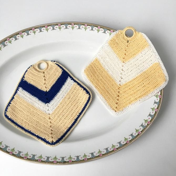 Blue, butter and cream vintage crocheted potholders - vintage kitchen by NextStageVintage
