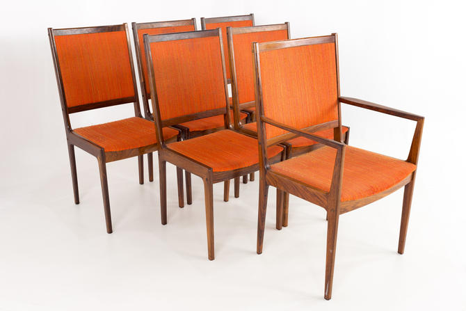 Kofod Larsen Mid Century Rosewood Highback Dining Chairs - Set of 6 - mcm by ModernHill