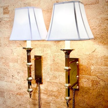 Pair of Vintage Paul Hanson Brass Wall Mounted Lamps / Sconces w/ Chain Cords by templeofvintage
