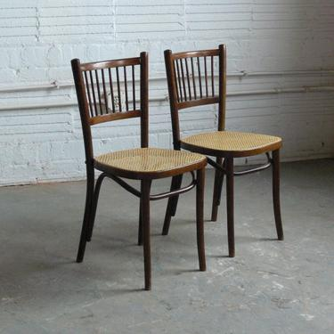 Vintage Thonet Attributed Bentwood Side Chairs In Manner of Josef Hoffmann (Set of 2) by CoMod