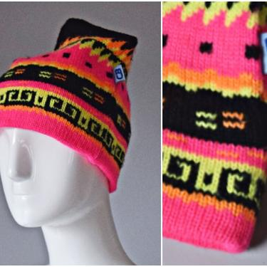 vtg 90s CB Sports neon pink + black geometric pattern knit wool stretch hat winter ski   beanie cap stretch sports 1990s skull cap colorful by PinkhamRoadRetro