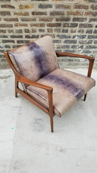 Mid century Danish Modern Walnut Framed Newly Upholstered Holly Hunt Snake Skin Embossed Patent Leather and Brazilian Cow-Hide Lounge
