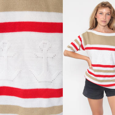 Anchor Sweater Top 80s Knit Shirt Striped Nautical Short Sleeve Sweater White Red Sailor Retro Striped Boatneck Large by ShopExile
