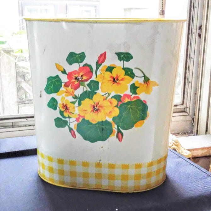 Vintage Toleware Painted Waste Basket