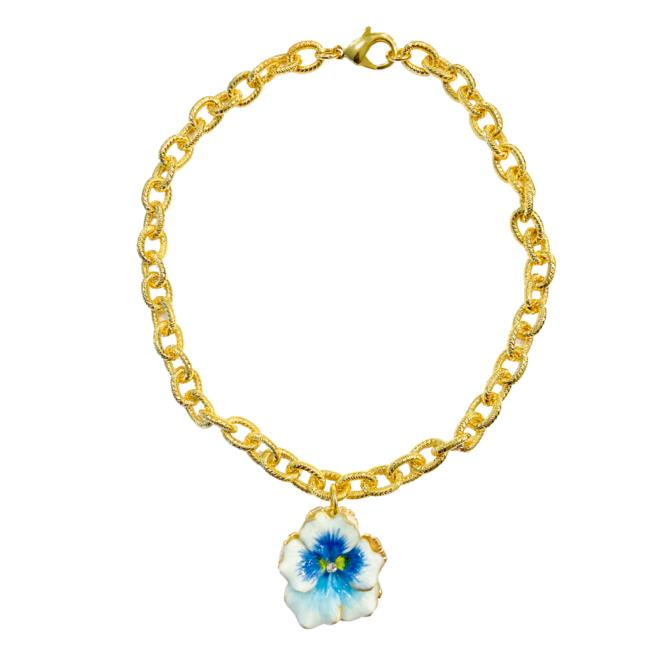 The Pink Reef light blue pansy necklace