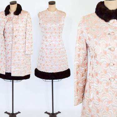 1960s Pink Metallic Brocade Evening Dress Set   Peach & Silver Silk Brocade Coat Dress   Fur Trimmed Evening Dress Set   Mark Klaus   Medium by GlennasVintageShop