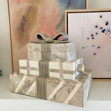 Vintage Renoir Design Tessellated Stone Gift Jewelry Box by Renoir Designs by LittleChairShop