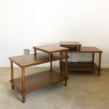 mid century Robsjohn Gibbings Widdicomb (2) two tiered side end table pair by TripodModern