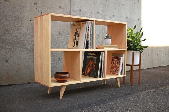 """Couzens Vinyl LP Console, 45"""" Wide, Bookcase, Bookshelf, Vinyl Storage, Mid-Century Modern (shown in walnut) by TomfooleryWood"""