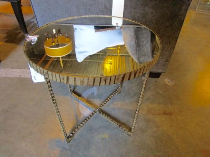 ACCENT TABLE BY UTTERMOST IN IRON WITH MIRRORED TOP