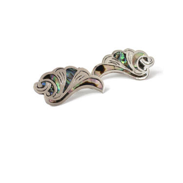 1940s SIGNED Sterling Silver Abalone Shell Earrings - 1940s Iguala Mexican Silver & Abalone Earrings - Vintage Mexican Silver Earrings by VeraciousVintageCo