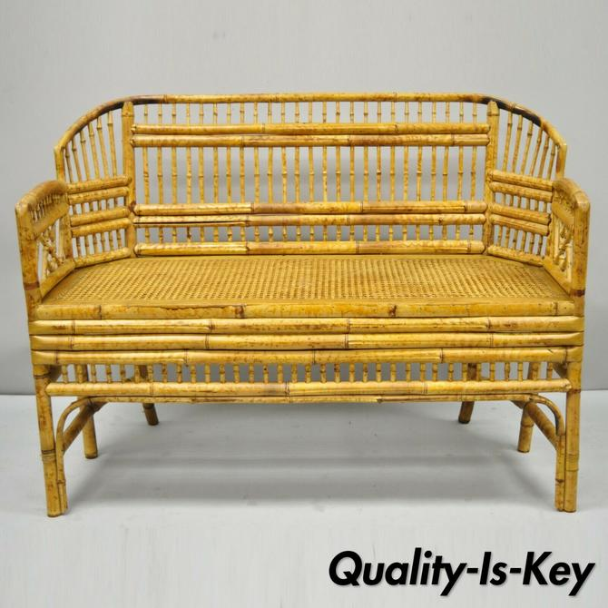 Vtg Brighton Pavilion Style Bamboo Rattan Settee Loveseat Chinese Chippendale