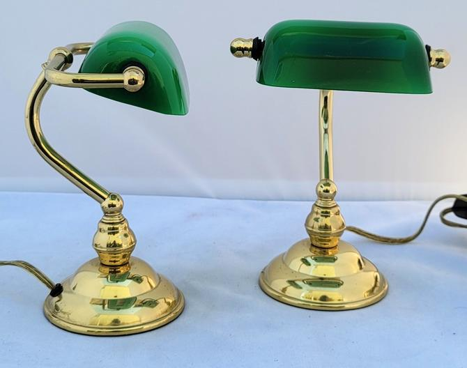 Vintage Miniaturized Salesman Sample Emerald Green Piano Bankers Lamps - a Pair