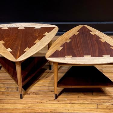 Restored Pair of Lane Acclaim Triangle Guitar Pick Tables Side Tables End Tables - Mid Century Modern Danish Style Walnut Coffee Table by MidMod414