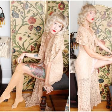 1930s Lace Coverup // Nude Lace Overlay Coverup // vintage 30s lace jacket by dethrosevintage