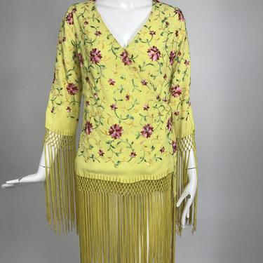 Vintage Adolft Yellow Embroidered Fringe Trim Wrap Coat or Dress 1970s