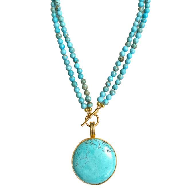 Bahama Blue Turquoise Pendant Necklace