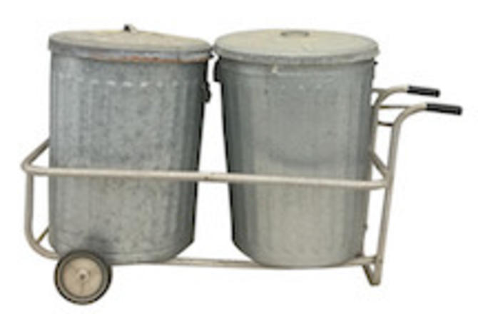 Galvanized Trash Cans and Rolling Cart