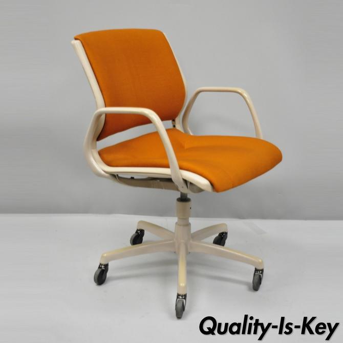 Vtg Steelcase 430-312 Orange Rolling Office Desk Arm Chair Mid Century Modern