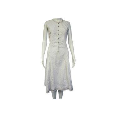 Gary Graham White Raw Edge Striped Cotton Sleeveless Short Casual Dress Size: 10 (M) by MetronomeThreads