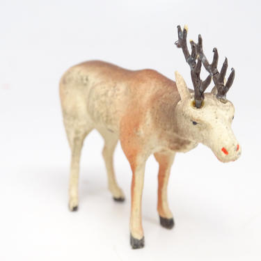 Antique Small German Reindeer Hand Painted Composite, Vintage Deer for Christmas Putz or Nativity, Marked GERMANY by exploremag