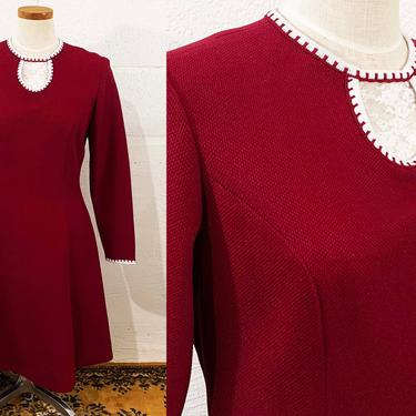 Vintage Burgundy Dress 1960s 60s Long Sleeve Maroon Scooter Lace Collar A-Line Red White Lampl Mod Medium Large XL by CheckEngineVintage