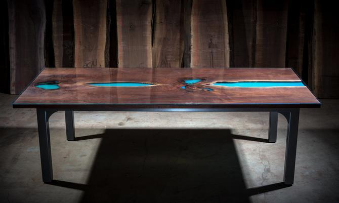 A River Runs Through  Black Walnut & Resin Dining Table by KirkpatrickDesigns