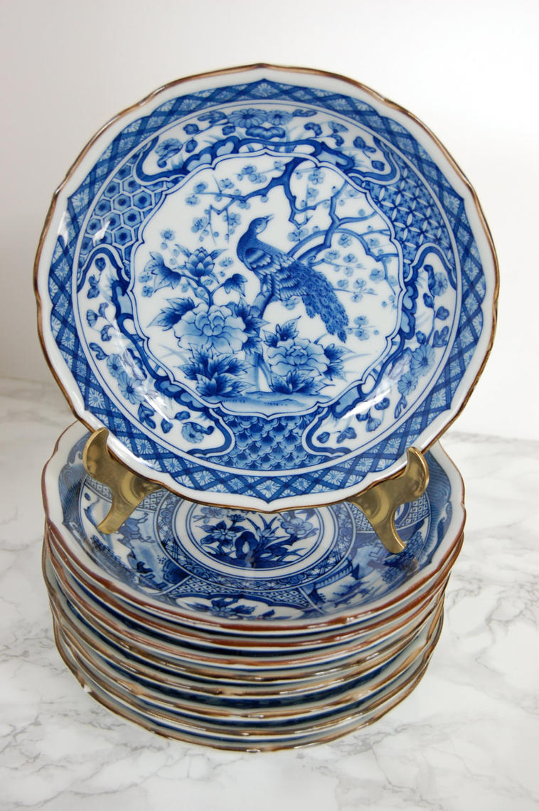 Blue And White Porcelain Bowls Asian Bowls Peacock
