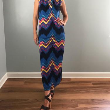 70s DON LUIS de ESPAA sleeveless maxi dress | graphic print jersey knit dress by LosGitanosVintage