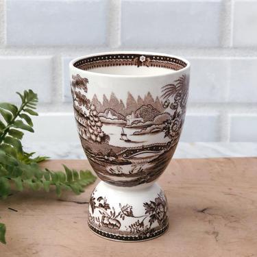 Antique Brown Transferware Egg Cup by AnticaMarket