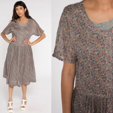 Grunge Floral Dress 90s Midi Taupe Dress Crochet Trim Button Up Dress Drape Boho Short Sleeve Romantic 1990s Vintage Long Oversized Medium by ShopExile