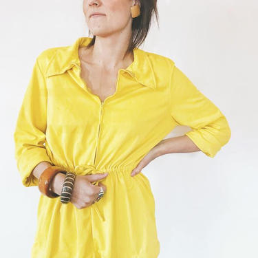 1970's Yellow Vintage Top with Drawstring Waist by FolkandCup