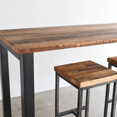 Pub Table made from Reclaimed Wood / Industrial Kitchen Table / Rustic Bar Table / Commercial Table by wwmake