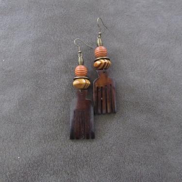 Carved bone comb earrings, afro pick earrings horn earrings, Afrocentric African earrings, bold statement earrings, orange wooden earrings by Afrocasian