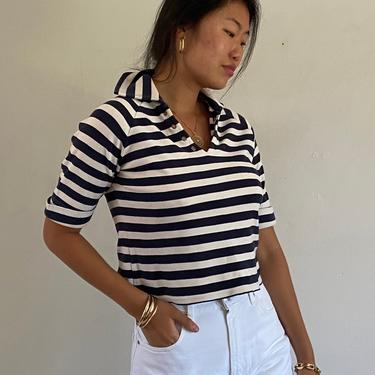 90s cropped striped cotton knit top tee / vintage navy blue striped collared henley nautical stripe crop tee top   S M by RecapVintageStudio