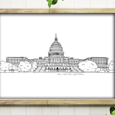 Art Print // U.S. Capitol Building // 5x7 + 8x10 Ink Drawing // Washington, DC by BillieClaireHandmade