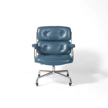Eames Time Life Lobby Chair in Marin Blue Semi Aniline Leather by SocialObjects