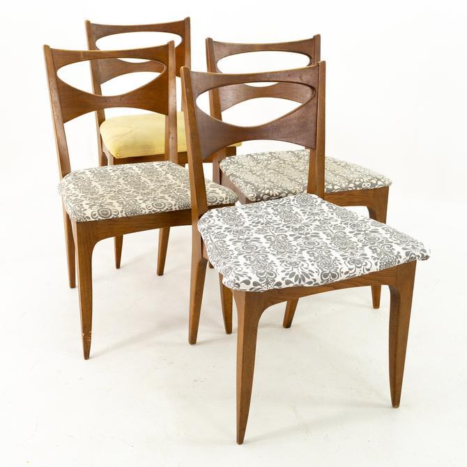 John van Koert for Drexel Profile Mid Century Walnut Dining Chairs - Set of 4 by ModernHill