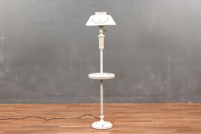 Snow White Tole Side Table Floor Lamp