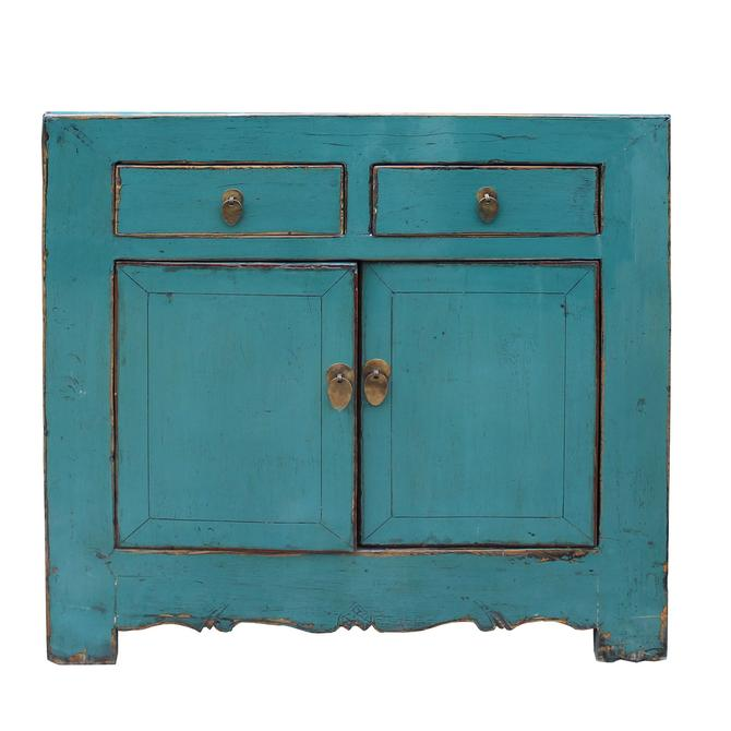 Chinese Distressed Rustic Aqua Blue Foyer Console Table Cabinet cs5005S