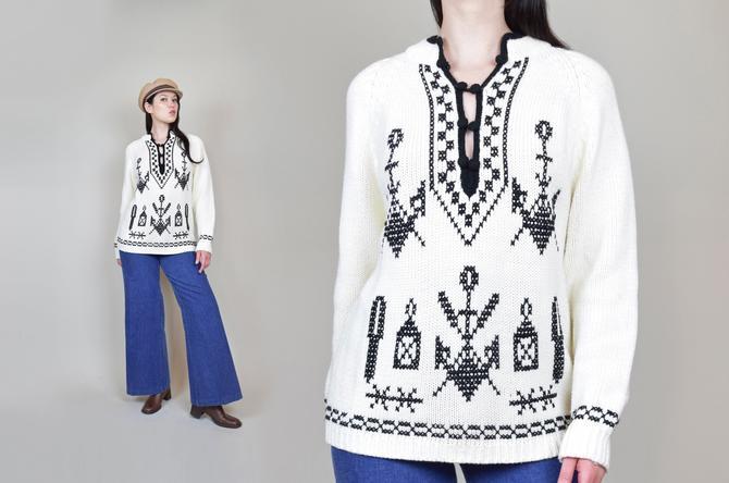 1960's Nautical Anchor Sweater | Vintage Kimlon Anchor Sweater by WisdomVintage