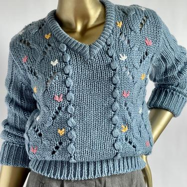 1970's / Early 80's Baby Blue Sweater with Embroidered Flowers  fits S - L Chunky Cableknit by BeggarsBanquet