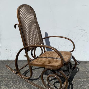 Antique Thonet Bentwood Rocker Armchair Rocking Chair Bohemian Boho Mid Century Modern MCM Glider Cane Wood Chair Nursery CUSTOM PAINT Avail by DejaVuDecors