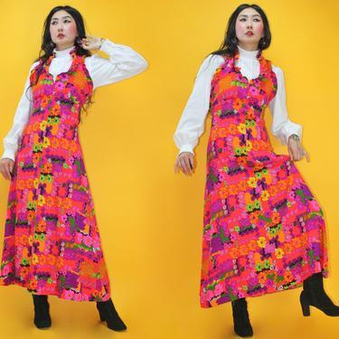 Vintage 1970s Flower Child Ruffle Halter neck Maxi Dress /SZ S/ 70s 60s Hippie Rainbow Floral print Maxi Dress / Festival Woodstock Boho by TheeAppleBoutique