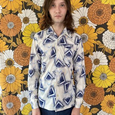 70's Blue Geometric Shirt!
